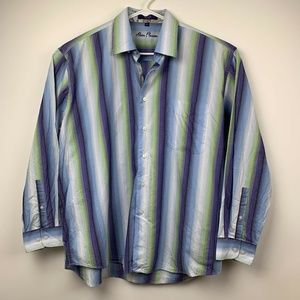 Alan Flusser XL Shirt Blue Purple Stripe Flip Cuff